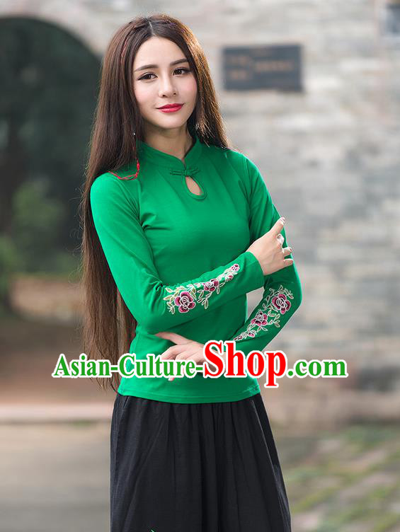 Traditional Chinese National Costume, Elegant Hanfu Embroidery Flowers Stand Collar Green T-Shirt, China Tang Suit Republic of China Plated Buttons Blouse Cheongsam Upper Outer Garment Qipao Shirts Clothing for Women