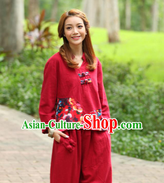 Traditional Chinese National Costume, Elegant Hanfu Joint Color Flowers Linen Red T-Shirt, China Tang Suit Plated Buttons Blouse Cheongsam Upper Outer Garment Qipao Shirts Clothing for Women
