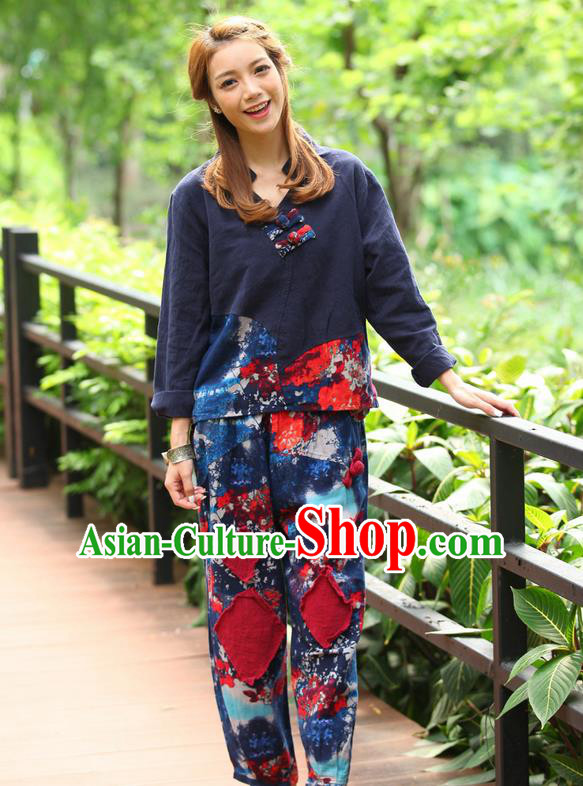 Traditional Chinese National Costume, Elegant Hanfu Joint Color Flowers Linen Blue T-Shirt, China Tang Suit Plated Buttons Blouse Cheongsam Upper Outer Garment Qipao Shirts Clothing for Women