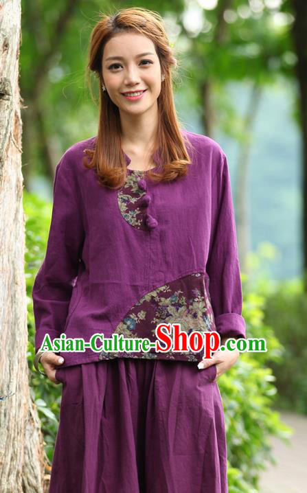 Traditional Chinese National Costume, Elegant Hanfu Joint Color Flowers Linen Plated Buttons Purple T-Shirt, China Tang Suit Blouse Cheongsam Upper Outer Garment Qipao Shirts Clothing for Women