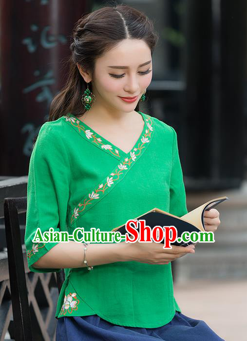 Traditional Chinese National Costume, Elegant Hanfu Embroidery Green Shirt, China Tang Suit Republic of China Blouse Cheongsam Upper Outer Garment Qipao Shirts Clothing for Women