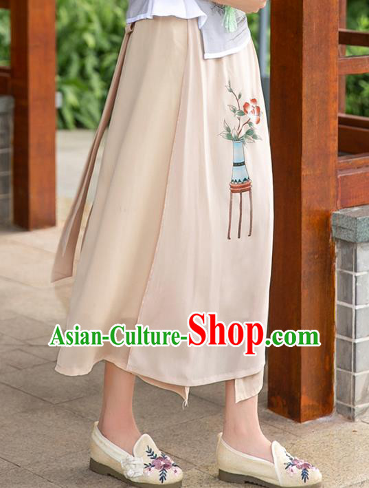 Traditional Ancient Chinese National Pleated Skirt Costume, Elegant Hanfu Hand Painting Flowers Long Apricot Skirt, China Tang Suit Bust Skirt for Women