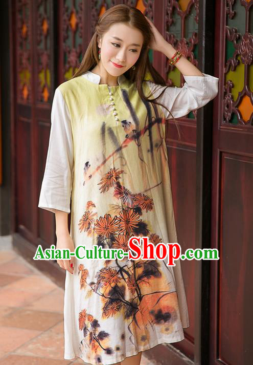 Traditional Ancient Chinese National Costume, Elegant Hanfu Mandarin Qipao Linen Printing Dress, China Tang Suit Chirpaur Republic of China Cheongsam Upper Outer Garment Elegant Dress Clothing for Women