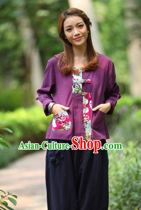 Traditional Chinese National Costume, Elegant Hanfu Patch Contrast Color Purple T-Shirt, China Tang Suit Republic of China Plated Buttons Blouse Cheongsam Upper Outer Garment Qipao Shirts Clothing for Women