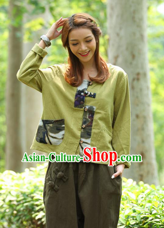 Traditional Chinese National Costume, Elegant Hanfu Patch Contrast Color Fruit Green T-Shirt, China Tang Suit Republic of China Plated Buttons Blouse Cheongsam Upper Outer Garment Qipao Shirts Clothing for Women