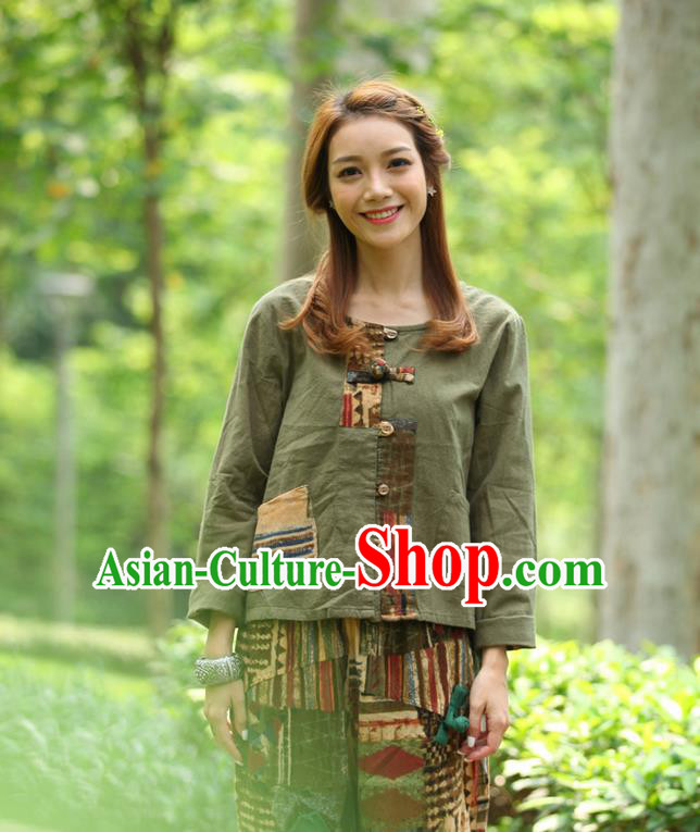 Traditional Chinese National Costume, Elegant Hanfu Patch Contrast Color Army Green T-Shirt, China Tang Suit Republic of China Plated Buttons Blouse Cheongsam Upper Outer Garment Qipao Shirts Clothing for Women