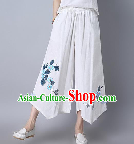 Traditional Chinese National Costume Loose Pants, Elegant Hanfu Embroidered Irregular Wide-leg White Trousers, China Ethnic Minorities Folk Dance Baggy Pants for Women