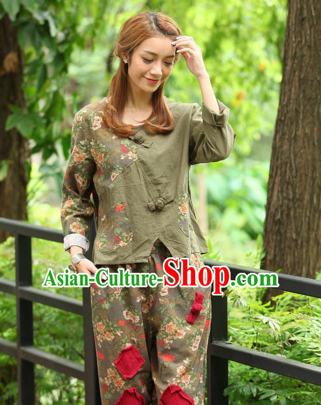 Traditional Chinese National Costume, Elegant Hanfu Joint Contrast Color Army Green Navy T-Shirt, China Tang Suit Republic of China Plated Buttons Blouse Cheongsam Upper Outer Garment Qipao Shirts Clothing for Women