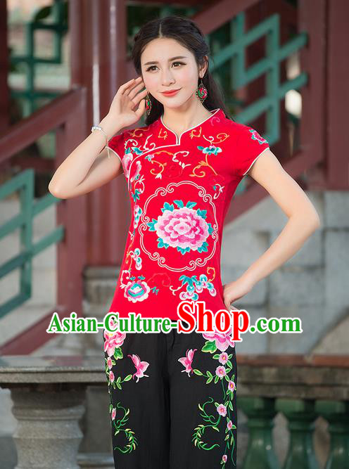 Traditional Chinese National Costume, Elegant Hanfu Embroidery Stand Collar Red Shirt, China Tang Suit Republic of China Blouse Cheongsam Upper Outer Garment Qipao Shirts Clothing for Women