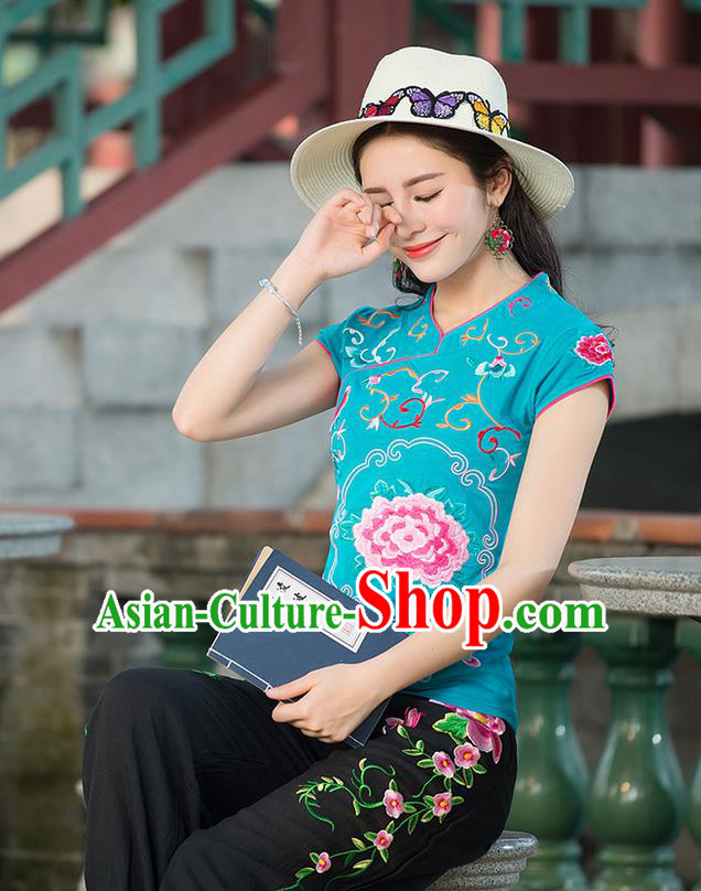 Traditional Chinese National Costume, Elegant Hanfu Embroidery Stand Collar Blue Shirt, China Tang Suit Republic of China Blouse Cheongsam Upper Outer Garment Qipao Shirts Clothing for Women