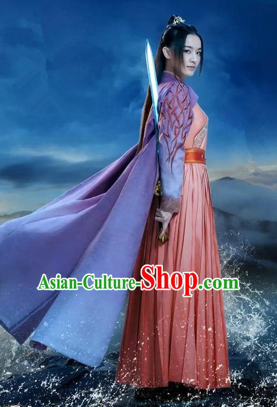 Traditional Ancient Chinese Elegant Swordsman Costume, Chinese Ancient Young Lady Heroine Dress, Cosplay Chinese Television Drama Jade Dynasty Qing Yun Faction Peri Hanfu Trailing Embroidery Clothing for Women