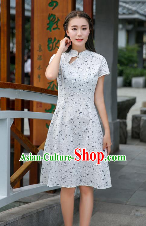 Traditional Ancient Chinese National Costume, Elegant Hanfu Mandarin Qipao Stand Collar White Dress, China Tang Suit Chirpaur Republic of China Plated Buttons Cheong-sam Elegant Dress Clothing for Women