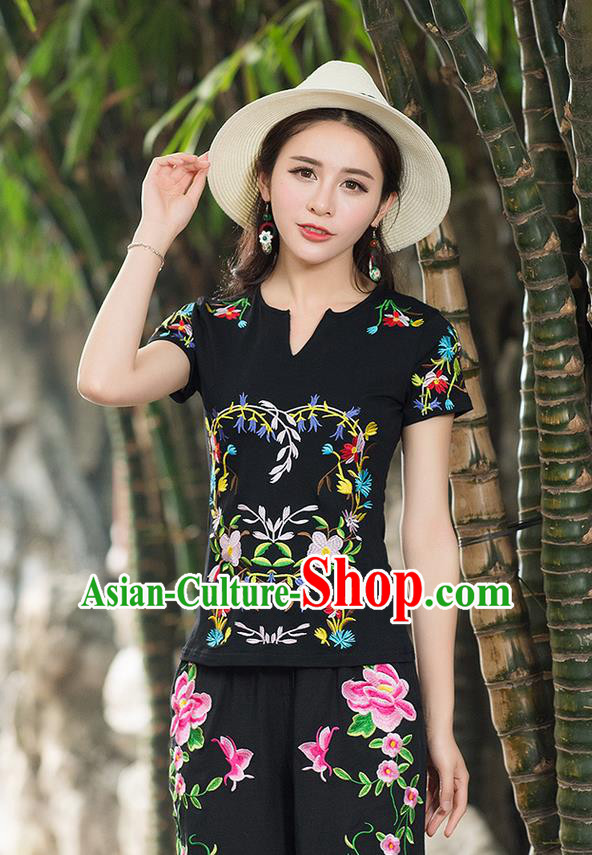 Traditional Chinese National Costume, Elegant Hanfu Embroidery Flowers Black T-Shirt, China Tang Suit Republic of China Chirpaur Buttons Blouse Cheong-sam Upper Outer Garment Qipao Shirts Clothing for Women