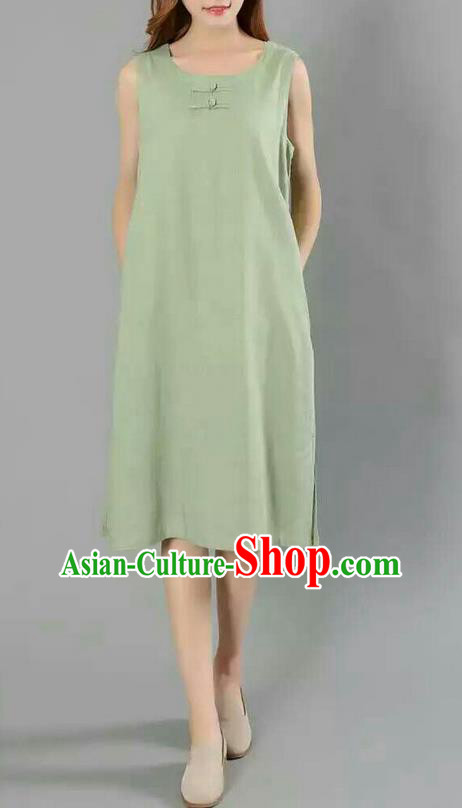 Traditional Ancient Chinese National Costume, Elegant Hanfu Mandarin Qipao Linen Green Dress, China Tang Suit Chirpaur Republic of China Plated Buttons Cheongsam Elegant Dress Clothing for Women