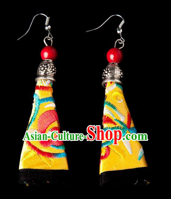 Traditional Chinese Miao Nationality Crafts, Hmong Handmade Miao Silver Embroidery Yellow Earrings Pendant, China Ethnic Minority Eardrop Accessories Earbob Pendant for Women