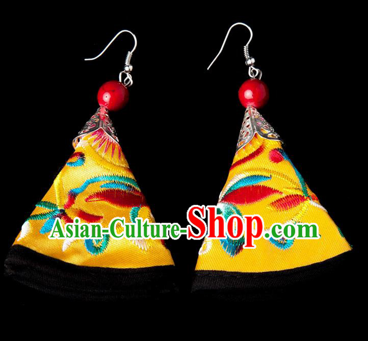 Traditional Chinese Miao Nationality Crafts, Yunnan Hmong Handmade Embroidery Flower Yellow Earrings Pendant, China Ethnic Minority Eardrop Accessories Earbob Pendant for Women