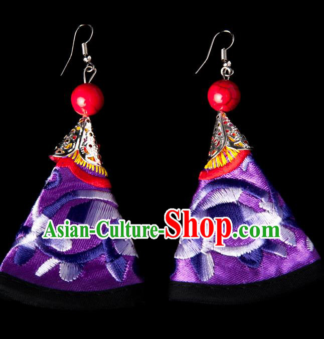 Traditional Chinese Miao Nationality Crafts, Yunnan Hmong Handmade Embroidery Flower Purple Earrings Pendant, China Ethnic Minority Eardrop Accessories Earbob Pendant for Women