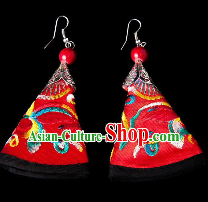 Traditional Chinese Miao Nationality Crafts, Yunnan Hmong Handmade Embroidery Flower Red Earrings Pendant, China Ethnic Minority Eardrop Accessories Earbob Pendant for Women