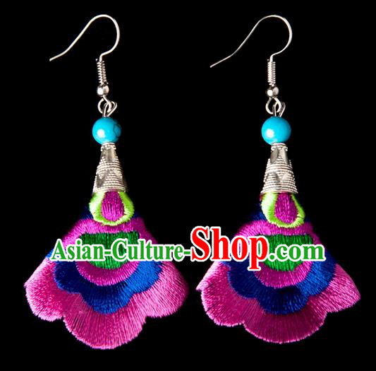 Traditional Chinese Miao Nationality Crafts, Yunnan Hmong Handmade Embroidery Flower Linen Pink Earrings Pendant, China Ethnic Minority Eardrop Accessories Earbob Pendant for Women