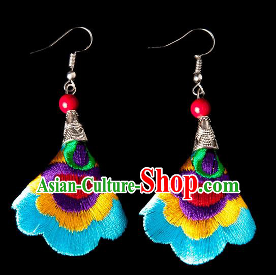 Traditional Chinese Miao Nationality Crafts, Yunnan Hmong Handmade Embroidery Flower Linen Blue Earrings Pendant, China Ethnic Minority Eardrop Accessories Earbob Pendant for Women