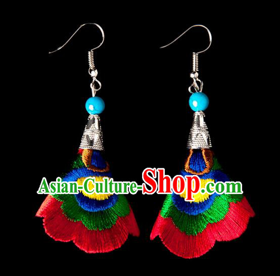 Traditional Chinese Miao Nationality Crafts, Yunnan Hmong Handmade Embroidery Flower Linen Red Earrings Pendant, China Ethnic Minority Eardrop Accessories Earbob Pendant for Women