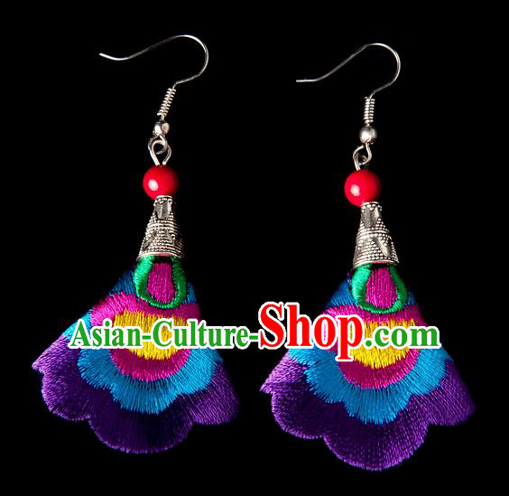 Traditional Chinese Miao Nationality Crafts, Yunnan Hmong Handmade Embroidery Flower Linen Purple Earrings Pendant, China Ethnic Minority Eardrop Accessories Earbob Pendant for Women