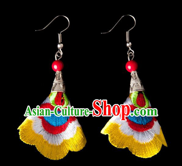 Traditional Chinese Miao Nationality Crafts, Yunnan Hmong Handmade Embroidery Flower Linen Yellow Earrings Pendant, China Ethnic Minority Eardrop Accessories Earbob Pendant for Women