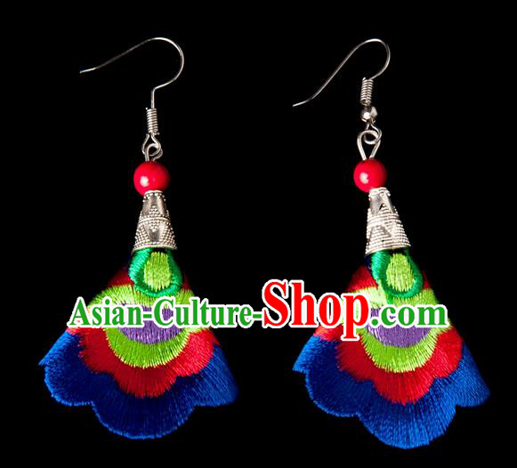 Traditional Chinese Miao Nationality Crafts, Yunnan Hmong Handmade Embroidery Flower Linen Royalblue Earrings Pendant, China Ethnic Minority Eardrop Accessories Earbob Pendant for Women