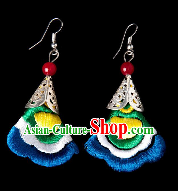 Traditional Chinese Miao Nationality Crafts, Yunnan National Handmade Embroidery Flower Linen Royalblue Earrings Pendant, China Ethnic Minority Eardrop Accessories Earbob Pendant for Women