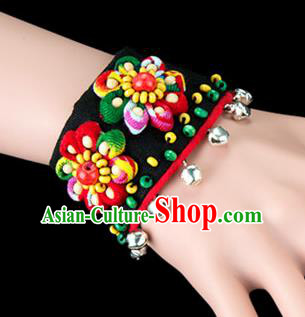 Traditional Chinese Miao Nationality Crafts, Yunan Hmong Handmade Bracelet Bells Cuff Hand Decorative, China Miao Ethnic Minority Bangle Accessories for Women