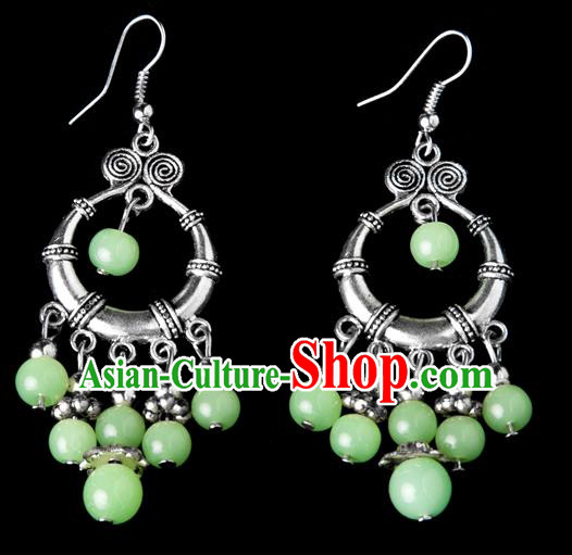 Traditional Chinese Miao Nationality Crafts, Yunnan Hmong Handmade Green Beads Tassel Earrings Pendant, China Ethnic Minority Eardrop Accessories Earbob Pendant for Women