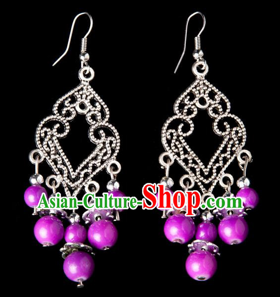 Traditional Chinese Miao Nationality Crafts, Yunnan Hmong Handmade Purple Beads Long Tassel Earrings Pendant, China Ethnic Minority Eardrop Accessories Earbob Pendant for Women