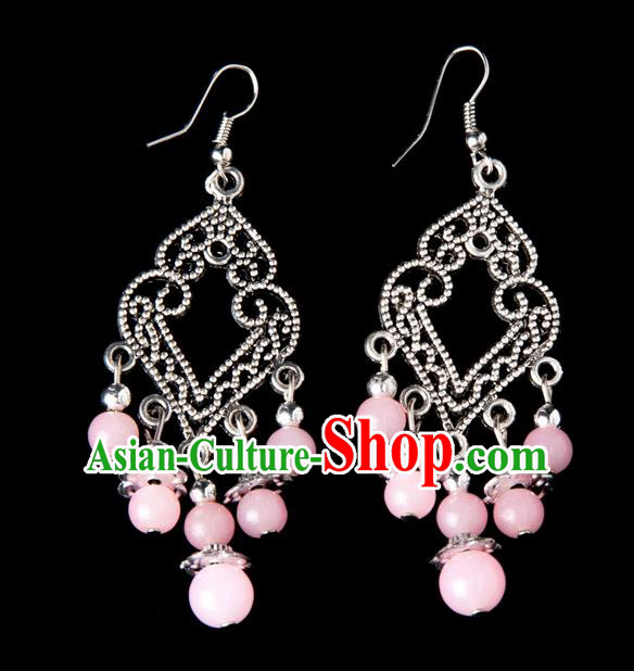 Traditional Chinese Miao Nationality Crafts, Yunnan Hmong Handmade Pink Beads Long Tassel Earrings Pendant, China Ethnic Minority Eardrop Accessories Earbob Pendant for Women