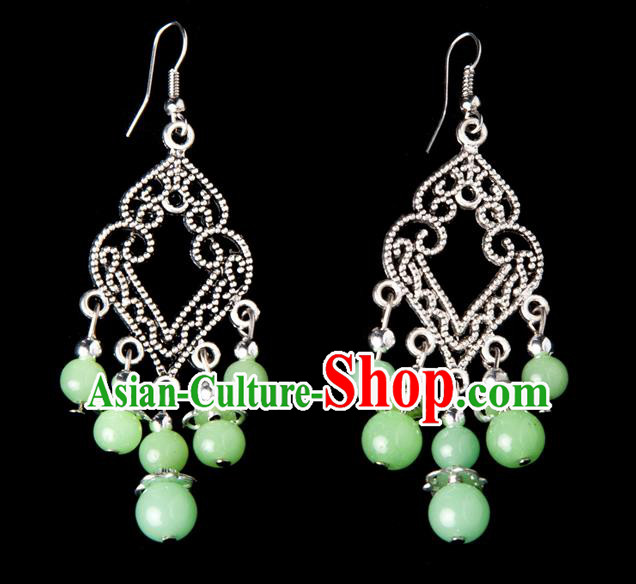 Traditional Chinese Miao Nationality Crafts, Yunnan Hmong Handmade Green Beads Long Tassel Earrings Pendant, China Ethnic Minority Eardrop Accessories Earbob Pendant for Women