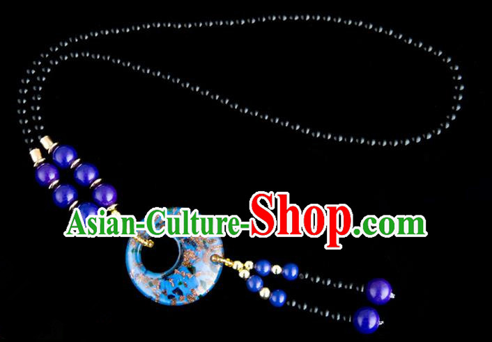 Traditional Chinese Miao Nationality Crafts, China Handmade Beads Blue Coloured Glaze Sweater Chain, China Miao Ethnic Minority Necklace Accessories Pendant for Women