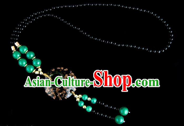 Traditional Chinese Miao Nationality Crafts, China Handmade Beads Deep Green Coloured Glaze Sweater Chain, China Miao Ethnic Minority Necklace Accessories Pendant for Women