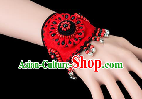 Traditional Chinese Miao Nationality Crafts, Yunan Hmong Handmade Flowers Bracelet Red Cuff Bells Hand Decorative, China Miao Ethnic Minority Bangle Accessories for Women