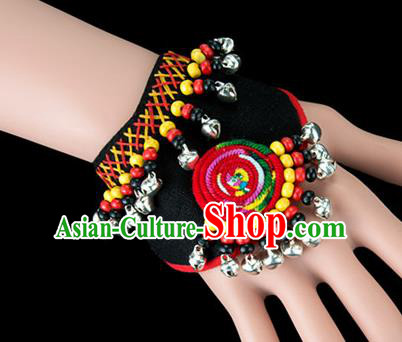 Traditional Chinese Miao Nationality Crafts, Yunan Hmong Handmade Black Fabrics Bracelet Cuff Bells Hand Decorative, China Miao Ethnic Minority Bangle Accessories for Women