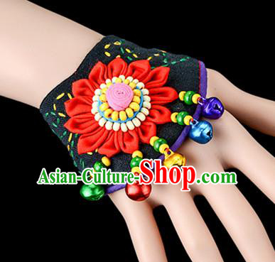 Traditional Chinese Miao Nationality Crafts, Yunan Hmong Handmade Red Fabrics Flower Bracelet Cuff Bells Hand Decorative, China Miao Ethnic Minority Bangle Accessories for Women