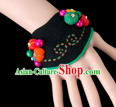 Traditional Chinese Miao Nationality Crafts, Yunnan Hmong Handmade Black Fabrics Bracelet Cuff Bells Hand Decorative, China Miao Ethnic Minority Bangle Accessories for Women