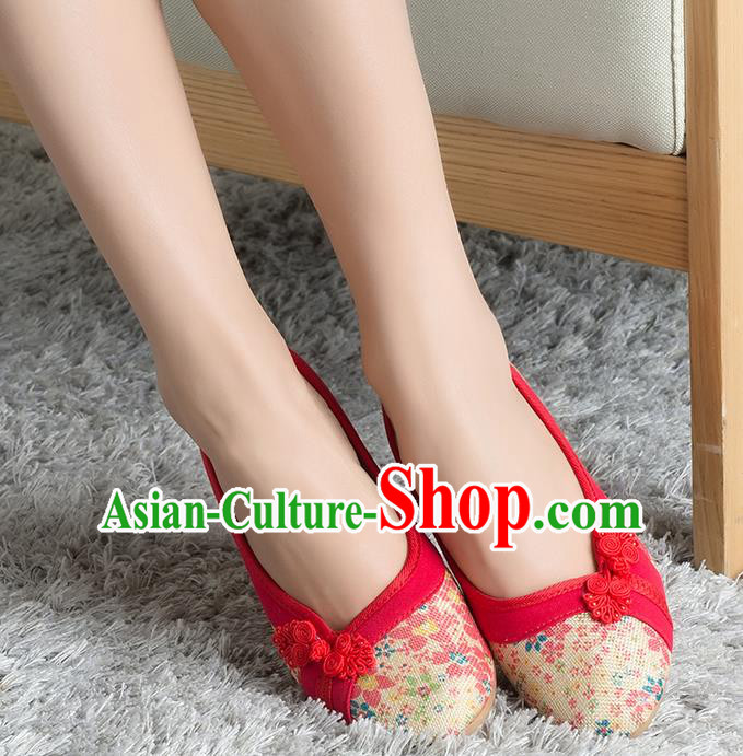 Traditional Chinese Shoes, China Handmade Linen Red Shoes, Ancient Princess Cloth Plated Buttons Shoes for Women