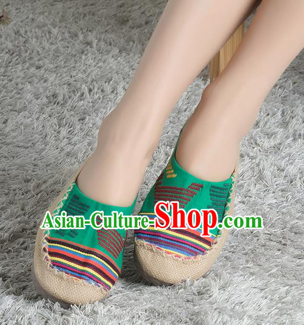 Traditional Chinese Shoes, China Handmade Linen Green Slippers, Ancient Princess Cloth Shoes for Women