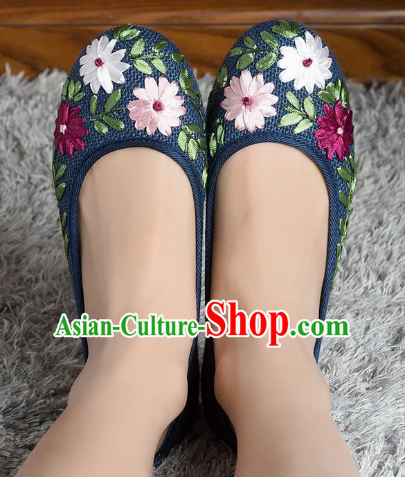 Traditional Chinese Shoes, China Handmade Linen Embroidered Black Shoes, Ancient Princess Cloth Shoes for Women