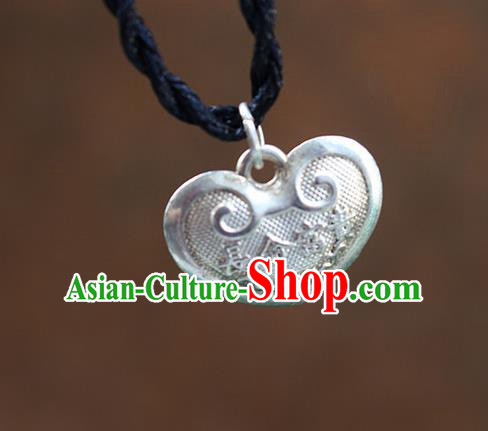 Traditional Chinese Miao Nationality Crafts Jewelry Accessory, Hmong Handmade Miao Silver Bells Heart-Shaped Pendant, Miao Ethnic Minority Necklace Accessories Sweater Chain Pendant for Women