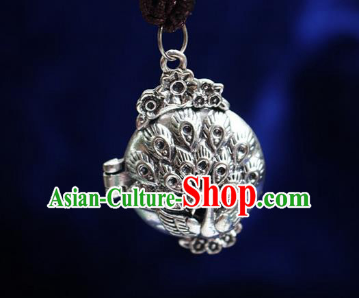 Traditional Chinese Miao Nationality Crafts Jewelry Accessory, Hmong Handmade Miao Silver Peacock Tassel Pendant, Miao Ethnic Minority Necklace Accessories Sweater Chain Pendant for Women