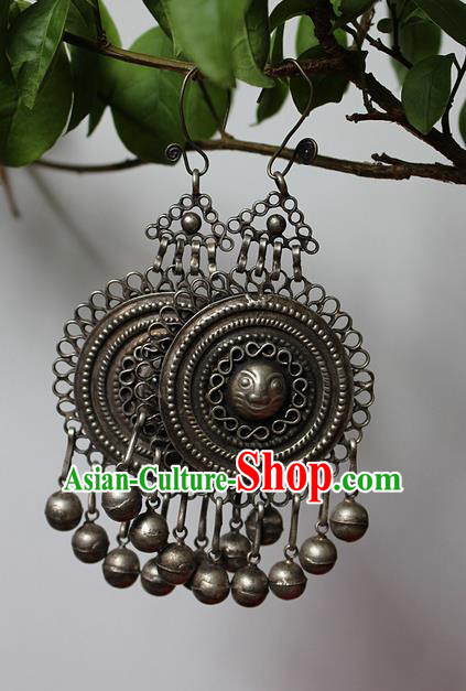 Traditional Chinese Miao Nationality Crafts Jewelry Accessory Classical Earbob Accessories, Hmong Handmade Miao Silver Palace Lady Bells Tassel Earrings, Miao Ethnic Minority Eardrop for Women