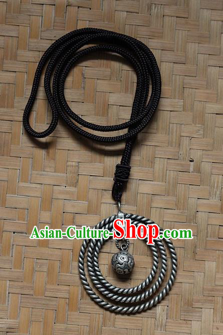 Traditional Chinese Miao Nationality Crafts Jewelry Accessory, Hmong Handmade Miao Silver Bells Tassel Birds Pendant, Miao Ethnic Minority Bells Necklace Accessories Sweater Chain Pendant for Women