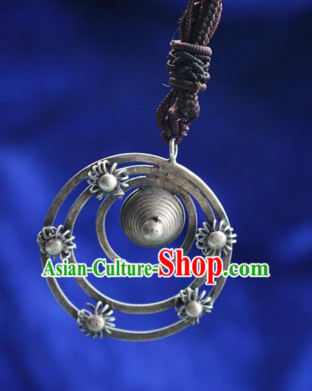 Traditional Chinese Miao Nationality Crafts Jewelry Accessory, Hmong Handmade Miao Silver Round Pendant, Miao Ethnic Minority Bells Necklace Accessories Sweater Chain Pendant for Women