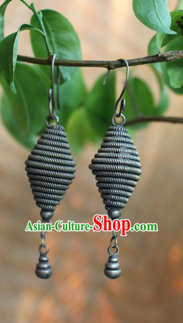 Traditional Chinese Miao Nationality Crafts Jewelry Accessory Classical Earbob Accessories, Hmong Handmade Miao Silver Palace Tassel Earrings, Miao Ethnic Minority Eardrop for Women