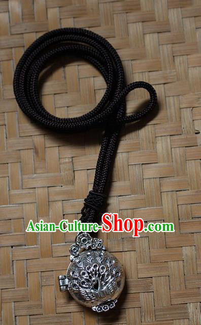 Traditional Chinese Miao Nationality Crafts Jewelry Accessory, Hmong Handmade Miao Silver Peacock Pendant, Miao Ethnic Minority Necklace Accessories Sweater Chain Pendant for Women